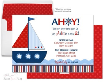 Nautical Birthday Invitations - Sailboat Birthday Invitation - Boys Birthday Invitation - Nautical Party Invite - Sailboat Party Invite