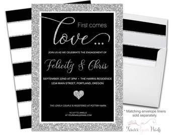 Couples Engagement Invitation - Coed Engagement Party Invite - Coed Bridal Shower - Coed Wedding Shower - Shower The Couple - Silver Glitter