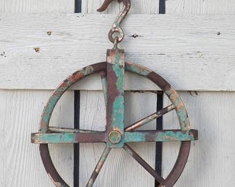 ON SALE Pulley~Vintage Style~Iron Pulley~Pulley Wheel~Antique Style Iron Pulley~Farmhouse~Barn Decor~Pulley Light Fixture