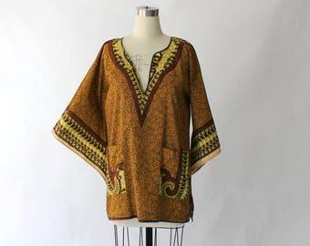 1970s Dashiki Tunic Blouse // 70s Vintage Bou Boudima Ethnic Print Cotton Angel Sleeve Top // Large