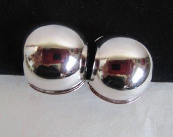 Vintage MONET 70s-80s Earrings Silver Dome Designer 1970s-1980s Clip On Earrings
