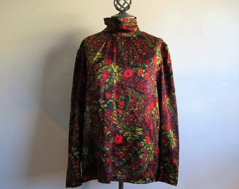 Vintage 1980s RAFFINATI Blouse Lagers Black Red Paisley Silk Charmeuse 80s Plus Size Blouse 18