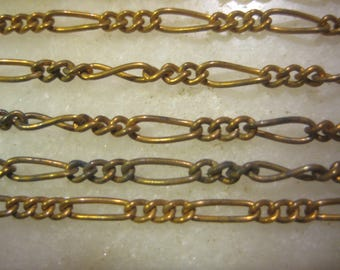 "Brass Figaro Chain, Mother and Son: General Purpose Jewelry Chain, Vintage 1970 Unused Old Stock, American Made, 12 Pieces, 6"" to 7""  Length"