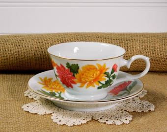 Avon Birthday Tea Cup and Saucer. November Chrysanthemum Blossoms of the Month Series 1991. Vintage Tea Party Tableware. Home Accent.