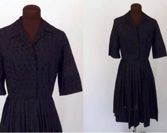 Vintage 50's Dress Black Cotton Eyelet Shirtwaist Size Medium / M