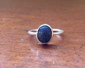 Sterling Silver and Vintage Lapis Lazuli Scarab Ring Size 7-8.5 Handmade 925 Pure Sterling Genuine Gemstone Ring