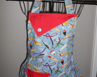Fishing Lures - Women's Apron - Fishng - pocket - ruffle - sports - bobbers - lures
