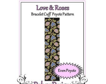 Bead Pattern Peyote(Bracelet Cuff)-Love and Roses