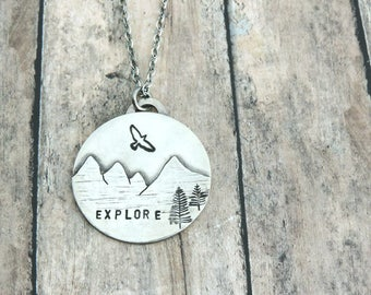 Silver Mountain Necklace - Mountain Landscape Pendant - Explore Necklace - Hiker Jewelry - Nature Lover Gift - Mountain Jewelry