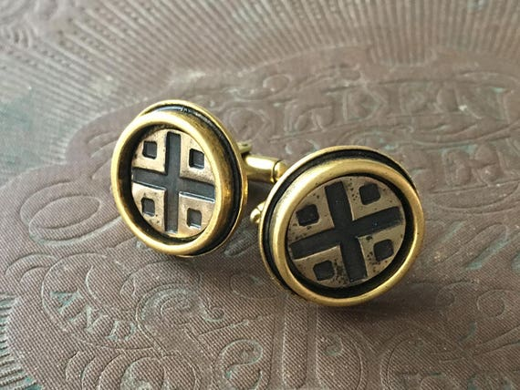 Bronze Cufflinks, Sterling Silver Cuff Links, Mid Century Modern, Gifts for Men