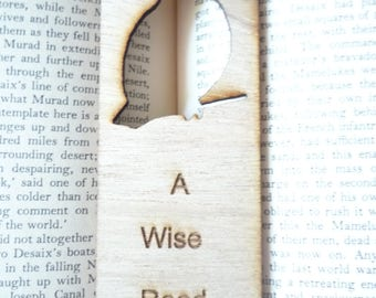 A Wise Read, Laser Engraved Wood Bookmark