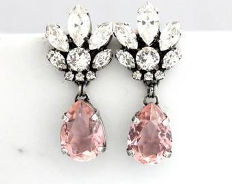 Bridal Chandeliers, Blush Chandelier, Morganite Earrings, Bridal Earrings, Rose Gold Bridal Earrings, Bridal Peach Drop Earrings