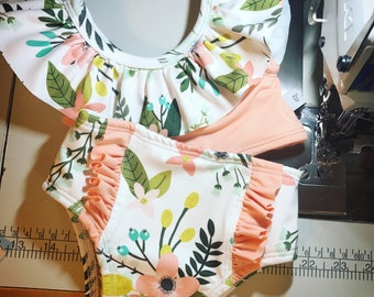 High waisted Baby Toddler Girls Swimsuit ruffle peach and aqua floral bikini