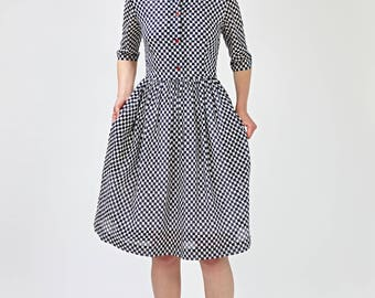 Fit and flare Wedding guest dress 1950s plaid dress Dress with pockets 1950s cotton dress Long sleeve dress Handmade Plus size dress