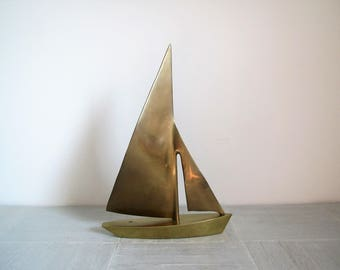 Mid century brass sailboat/vintage brass boat/nautical/beach/coastal design