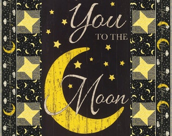 To the Moon Quilt ePattern, 5062-1, crib quilt pattern, panel quilt pattern, child's quilt, crib quilt
