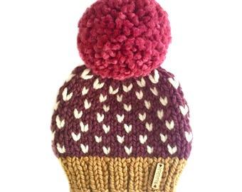 Toddler Pom-Pom Beanie, Pom Pom Beanie, Baby girl Hat, heart baby beanie, Pompom hat, hand knit hat, Ready to Ship