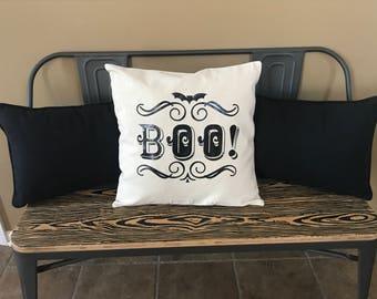 Boo Halloween Vintage Look Pillow  18x18