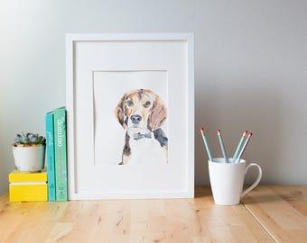 Custom Beagle Portrait, Pet Loss Gift, Dog Memorial Portrait, Sympathy Gift, Original Watercolor Dog Portrait
