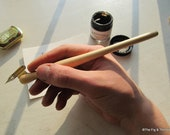 Oblique Dip Pen With Nib - Hand Turned Pine Calligraphy Pen holder Zanerian Flange