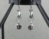 Hand Made Earrings Pewter Ladies Hands  Reaching For The Moon Silver Plate Bsue by 1928 Lead Free Dangles Oscarcrow