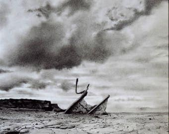 Seascape drawing, Admiral and Saltwick Nab, charcoal drawing, pencil drawing, black and white, shipwreck picture, Yorkshire coast, UK
