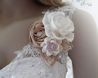 Ships in 5 days ~~~ Rustic Sola Flower Wedding Corsage, embellished with clear glass rhinestones, burlap and lace.