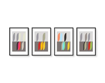 MODUS - VITALITY Set no.1 - Collection of (4) Giclee Prints - Abstract Mid Century Modern