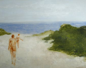 "Figure art at beach. Summer shore art digital print of original painting ""13th. Street"""