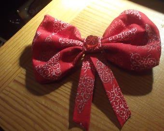 Red Christmas Tree Druzy Shiny Hair Bow Accessory Hair Clip Barrette