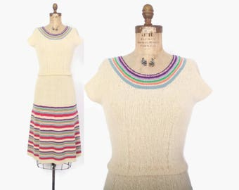 Vintage 40s KNIT Dress / 1940s Ivory Candy Striped Fit and Flare Dress