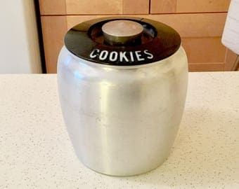 Vintage Kromex Cookies Canister, Kitchen Canister Cookie Jar, 1950s Kitchen, Retro Kitchen, Cannisters, Art Deco