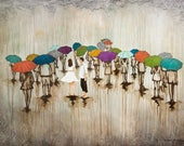 Couple Rain Art, titled Dance With Me In The Rain, Limited Edition, Umbrella Art, Mixed Media Art, Print Mounted to wood panel