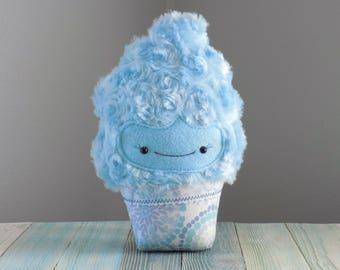 Cupcake stuffed toy in blue, cute cupcake plushie, fancy frosted cupcake plush toy, kawaii cupcake, cute food stuffed toy