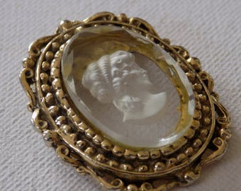 Vintage brooch, glass intaglio cameo dress collar clip, lady cameo retro brooch, classic jewelry