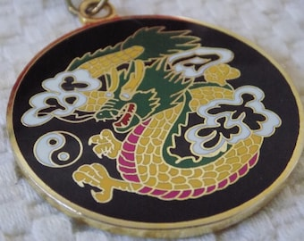 Vintage pendant necklace,Martial arts dragon and yin/yang enamel pendant and chain