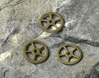 20 PCS Of 16 MM Gear Charms Antique bronze Tone 2 Sided Clock Gear Connector,lovely round gear Charm Pendant,pendant beads,jewelry findings