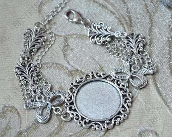 New style Platinum tone Adjustable bracelet tray,round blank findings,flower infinity bangle bezel findings