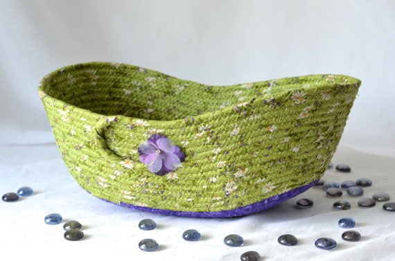 Green Decorative Basket, Soft Fiber Pottery Basket, Handmade Purple and Green Bowl, Key Holder, Modern Fabric Basket, Yarn Basket