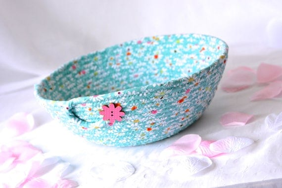 Summer Gift Basket, Handmade Designer Basket, Cookout Hostess Gift, Unique Teal Basket, Coiled Fabric Basket, Bathroom Decoration