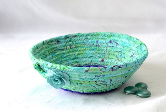Turquoise Gift Basket, Handmade Ring Holder Basket, Cute Bath Soap Basket, Cute Desk Accessory, Candy Bowl, Gorgeous Batik Key Tray,