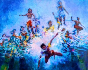 Jump - Archival quality Art Giclee Print of painting