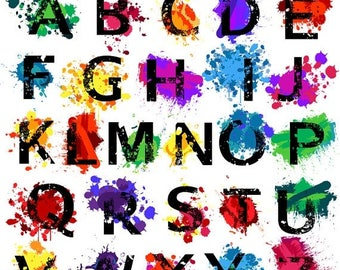 BACK TO SCHOOL Sale Grunge Alphabet, Font with Graffiti Paint Splatters Letters Clipart Clip Art, Uppercase - Commercial and Personal Use