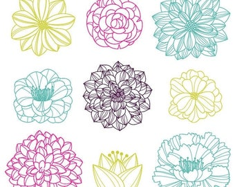 BACK TO SCHOOL Sale Flower Silhouettes Photoshop Brushes 3, Flower Photoshop Brushes - Commercial and Personal Use