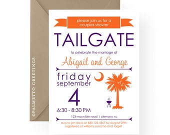 Clemson Tailgate Party Invitation South Carolina Palmetto Moon Bridal Shower, Engagement, Wedding Rehearsal Dinner, Birthday, Anniversary