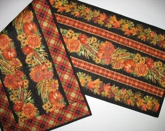 Autumn Table Runner, Thanksgiving, reversible, handmade, quilted, fall leaves, pumpkins, chrysanthemums, Timeless Treasure