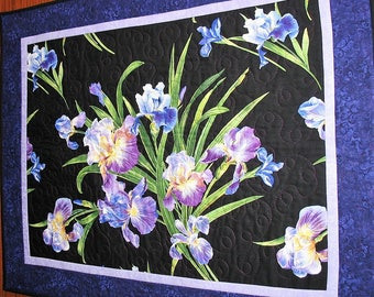Floral Wall Hanging Irises, Table Topper, quilted, handmade, Violet shades, fabric from Michael Miller