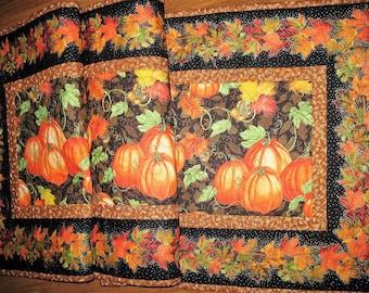 Fall Table Runner, Thanksgiving, Autumn, handmade, quilted, fall leaves, pumpkins, birds, horn a plenty, Wall hanging