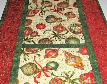 Sale Christmas in July Christmas Table Runner, Ornaments, Reversible, quilted, handmade, Wall hanging, Door hanger, fabric  from Kaufman Flo
