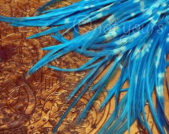 """Unique Feathers Fly Tying Hackle Kingfisher Blue Tie Dyed Bird Feathers White And Blue Feathers for Hair Accessories Earrings 30 Pieces 3-7"""""""